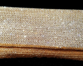 New Hand Beaded Gold Color Beads With Rhinestone Fine Quality One Of a Kind Evening Clutch Bag