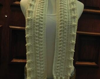 Handmade Crochet Women's / Junior's Irish Aran Popcorn Cabled Fringed Scarf