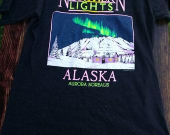Vintage Alaska tshirt Alaskan T-shirt tshirt tee art print Aurora borealis Large