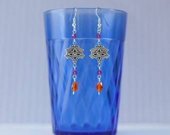 Vintage-Style Dangle Earrings with Swarovski Crystals