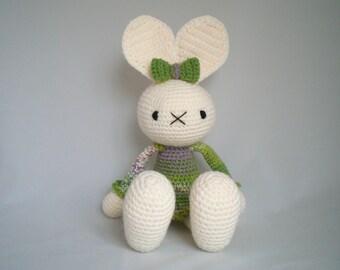 Crochet Bunny Rabbit /  Amigurumi Bunny Rabbit / Crochet Plush Rabbit Toy /  Floppy Eared Bunny Rabbit cuddly soft toy with green detail.