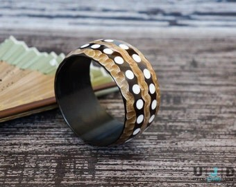 Horn Bangle, Polka Dots, Abstract,Ethnic Bangle, Wide Bangle,Stripes, Black,White, Brown, Bohemian,Statement Piece, Boho Chic, Unique,Chunky