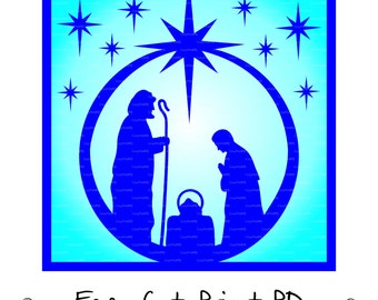 Nativity Glass Block Christ CHRISTMAS Cutting File Card silhouette (eps, svg, dxf, ai, jpg, png, pdf) Vector Digital ClipArt Decal Vinyl