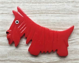 Carved Scotty Dog Pin Brooch  - Fakelite - Repro - 1930s,1940s inspired