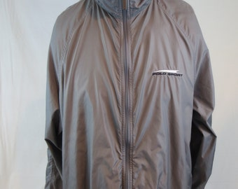 Polo Sport Windbreaker Large Gray Vintage Nylon