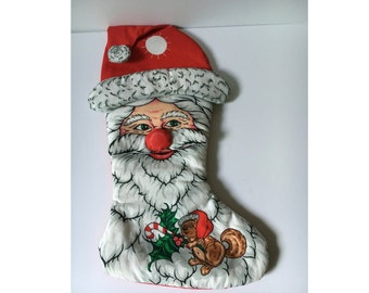 Handmade Christmas Stocking, Quilted Santa Sock, Holiday Santa Stocking, Holiday decor, Country Kitchen, Hung from mantle with care