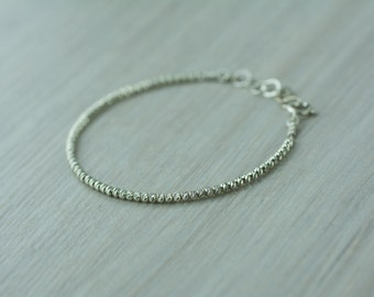 Silver faceted beads bracelet, 3mm faceted Sterling silver beads bracelet, textured beads stacking bracelet, minimal silver beaded bracelet