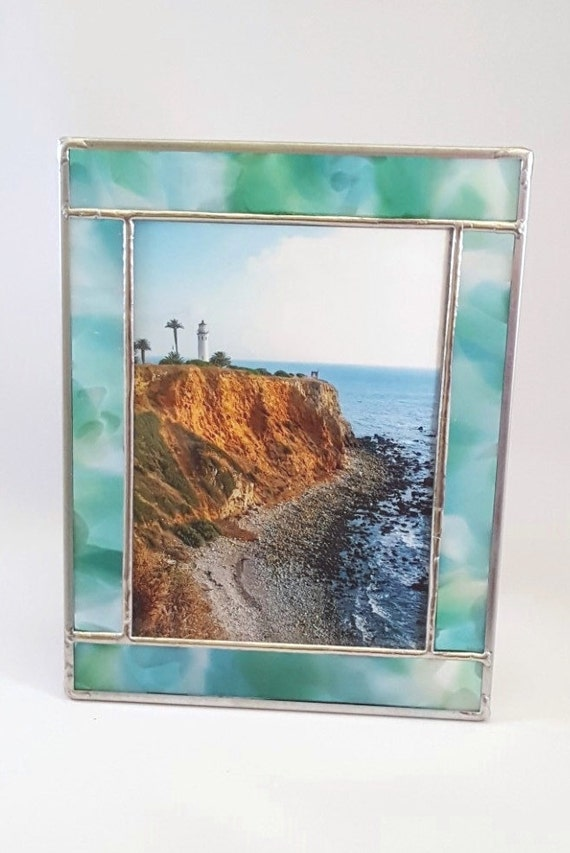 caribbean aqua blue green stained glass picture frame