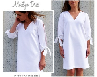 Marilyn Woven A-Line Dress Sewing Pattern - Sizes 20, 22 & 24 - Downloadable PDF Dress Pattern