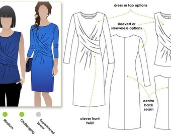 Kellie Jersey Dress/Top Sizes 16, 18 & 20 / Women's Dress Top Downloadable PDF Sewing Pattern by Style Arc / DIY clothing / Sewing Projects