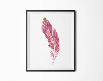 Watercolor feather poster, Modern poster, Printable poster, Minimal wall decor, Scandinavian poster, Wall decor, Nordic decor
