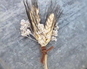 Wheat Boutonniere Rustic Wedding - Dried Lapel Pin - Botton Hole - Country Weddings - Groom Groomsmen Autumn Barn Summer Fall - Winter Wheat