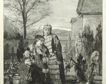 Mourning girls at a grave original 1892 art print - All Souls Day, Day of the Dead - 123 years old antique engraving illustration (B357)