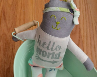 LIMITED EDITION! Floral on Light Blue Gigi and Max (c) Matching Hello World Small Corduroy Bunny