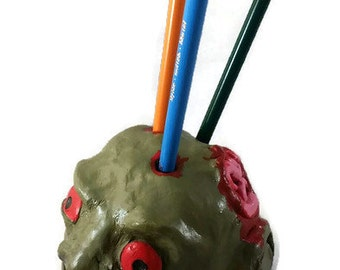 Zombie,  Pencil Holder, Zombie Pen Holder, Zombie Pencil Holder, zombie pencil holder, zombie home decor, zombies, polymer clay