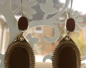 Elegant vintage handmade carnelian drop earrings