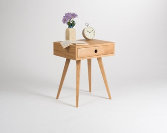 Nightstand, night stand, bedside table, bed side table, end table, side table with one drawer, scandinavian design, mid century modern