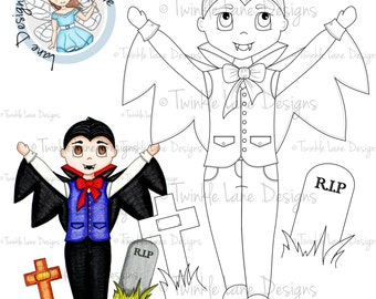 Vampire, Boy Digital Stamp, Halloween Clipart, Halloween, Colouring Page, Trick or Treat, Digi Stamp, Vampire Clipart, Papercrafting Stamps