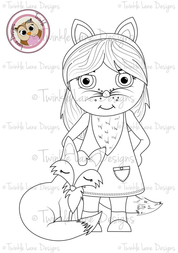 Fifi and Fox Cub Digi Stamp, Woodland Animals,Costume, Girl Character, Wild Animal, Colouring Page, Instant Download, Printable Card Topper