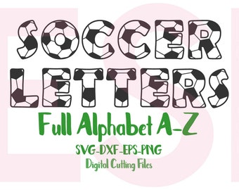Soccer Alphabet, SVG, DXF, EPS, png, Sports svg, soccer, football use in Silhouette studio and Cricut Design Space