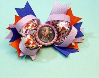 Disney Zootopia hair bow, Judy Hoops hair bow character printed ribbon, girls hair bow, Kids hair bow zootopia hairbow rabbit hairbow