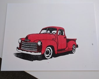 1953 Chevy Pickup Truck Hand Pulled Block Print