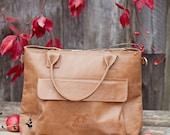 Brown leather bag - crossbody handbag - bag with zipper - bag with long  handle - leather handmade bag - leather zipper bag