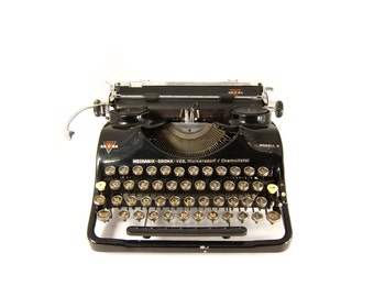 1940's - Groma Modell N Typewriter - Black - Case included - Working and Cleaned - QWERTY