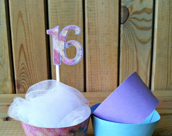 Sweet 16 Cupcake Toppers and Wrappers - party supplies - teal and purple - Tie dye
