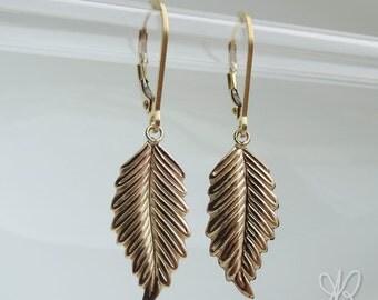 14k gold filled leaf earrings & leverback