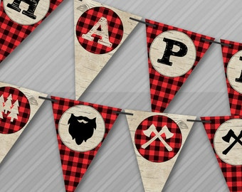 Lumberjack Banners, Lumberjack Pennant Banners, Lumberjack Party, Lumberjack Birthday, Banners, Instant Download, PDF