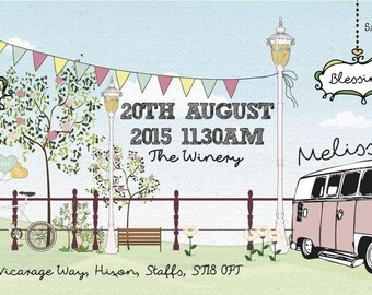 50 Summer Pastel Fete Bunting Camper Van Shabby Chic Wedding Ticket Invitations