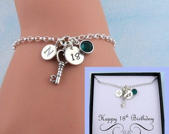 18th Birthday Bracelet With Message Card, 18th Birthday Gift, Personalized Birthday Jewelry, 18 Gift, Key Bracelet, Custom Message Jewelry