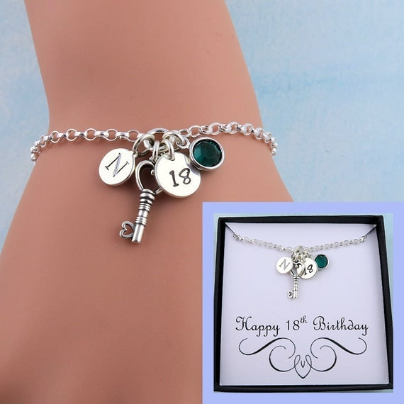 Personalized 18th Birthday Necklace Initial Custom: 18th Birthday Bracelet With Message Card 18th Birthday Gift