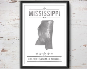 MISSISSIPPI State Typography Print, Typography Poster, Mississippi Poster, Mississippi Art, Mississippi Gift, Mississippi Decor, Mississippi