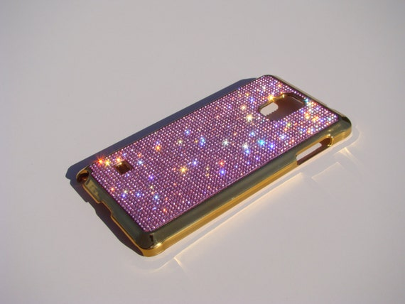 Galaxy Note 4 Pink Diamond Crystals on Gold-Bronze Electro Plated Plastic Case. Velvet/Silk Pouch Included, Genuine Rangsee Crystal Cases.