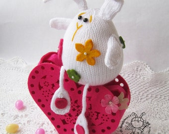 Easter white rabbit- knitting pattern (knitted round). Amigurumi Bunny
