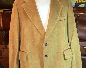 Vintage CORTEFIEL Men's Tan Corduroy & Leather Accents Blazer Sport coat Jacket 46--Made in Spain
