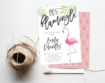 Flamingo Party Invitation Baby Shower, Tropical, Watercolor,  Printable Invite (729)