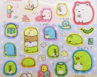 Sumikko Gurashi stickers - kawaii stickers - kawaii San-X stickers - Japanese stickers - polar bear stickers - cute Japanese cat stickers