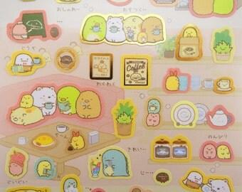 Sumikko Gurashi stickers - kawaii stickers - cafe stickers - dessert stickers -  San-X stickers - Japanese stickers - kawaii tea stickers