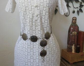 Mid Century Hand Crochet Vintage Dress Shanghai China 1950-1960 Size M/L