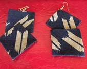 Japan- Fabric earrings- Handmade from authentic Japanese cotton dyed in indigo- Unique statement jewelry- Fabric jewelry-Japanese fabric