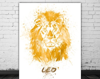 Leo Zodiac Sign Painting Print, Leo Lion Watercolor Animal Portrait Painting, August Birthday Gift, Astrological Sign, Leo Gift