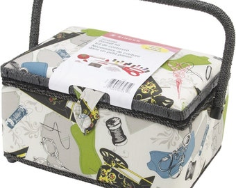 Singer Brand New Vintage Looking Sewing Basket with Sewing Kit Accessories, New,