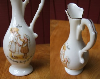 Vintage 1970s Holly Hobbie Pitcher | Porcelain Miniature Carafe | Love is the little things you do 1973