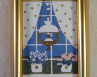 Porsgrund Framed Porcelain Tile Norway Signed by Artist