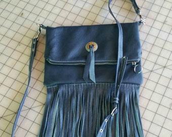 Handbags, Leather fringe fold over bag