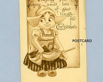 Christmas Postcard, Little Dutch Girl with Toys, 1912, Illustration by Artist Wall