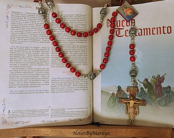 Wall Rosary. St. Damiano Red Wood Catholic Rosary. Wood Rosary. Big Rosary Holy Rosary. Religious Gift. Religious Mothers Gift.  #1R95